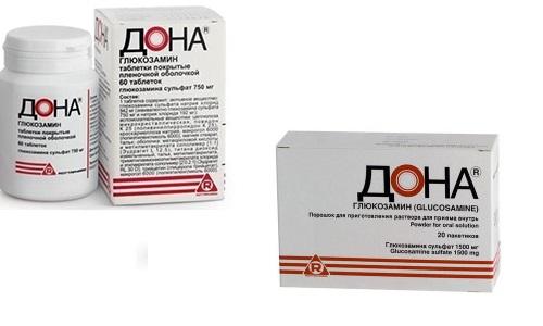При заболеваниях костно-суставной системы врачи назначают такой хондропротекторный препарат, как Дона (порошок или таблетки)