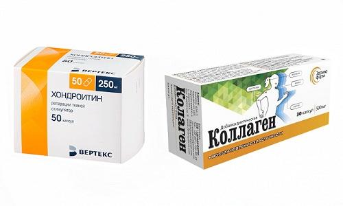 Хондроитин и Коллаген - препараты, используемые в лечении заболеваний опорно-двигательного аппарата, в частности дегенеративных процессов в суставной ткани
